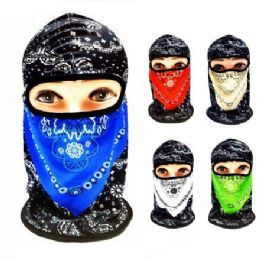 48 Units of Ninja Face Mask Two-Tone Paisley with Mesh - Face Mask