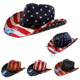 12 Wholesale Americana Cowboy Hat Stars and Stripes Hatband with Stars