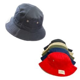 24 Wholesale Bucket Hat Solid Colors Vent Eyelet Accent