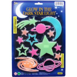 72 Wholesale GLOW PLANETS, STARS, COMETS ON CARD, 2 ASSRT