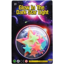72 Wholesale 15PC GLOW IN THE DARK STARS ON BLISTER CARD