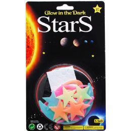 96 Wholesale 15PC GLOW PLANETS, STARS, COMETS ON CARD, 2 ASSRT