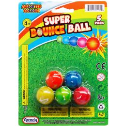 """72 Units of 5PC 1"""" HIGH BOUNCING BALLS ON BLISTER CARD - Novelty Toys"""