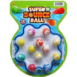 """72 Units of 12PC 0.75"""" HIGH BOUNCING BALLS ON BLISTER CARD - Novelty Toys"""