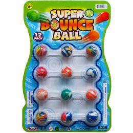 """36 Units of 12PC 1"""" HIGH BOUNCING BALLS IN NET BAG W/ HEADER CARD - Novelty Toys"""
