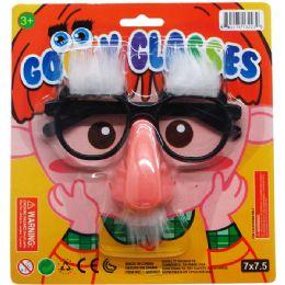 "72 Units of 5.25"" GOOFY GLASSES ON ON BLISTER CARD - Novelty Toys"