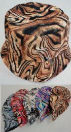 24 Wholesale Bucket Hat Tiger Print