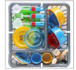 """12 of 21PC PRETEND DISH PLAY SET IN 11.5"""" DISH RACK"""