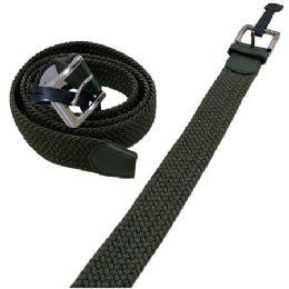 36 of Braided Stretch Belt Army Green All Sizes