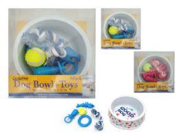 24 Wholesale 6 Pc Dog Bowl + Toys