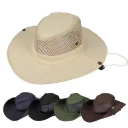 36 Units of Mesh Fishing Hat Color Assorted - Sun Hats