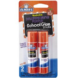 48 Units of Elmer's Purple School Glue Stick Washable 0.21 oz each, Dries Clear 2 Pack - Glue