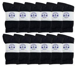 Yacht & Smith Kids Cotton Terry Cushioned Crew Socks Black Size 6-8 Bulk Pack