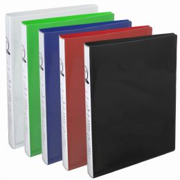 12 Units of 1 Inch Flexible Binder With Two Pockets - Assorted Colors - Binders
