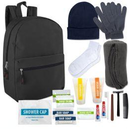 12 Units of Warm Essential Hygiene Kit Includes Backpack, Socks, Blanket, Hat, Gloves & 15 Toiletries - Hygiene kits