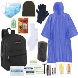 12 Units of Premium Warm Hygiene Kit Includes Backpack, Socks, Blanket, Hat, Gloves, Sanitizer, Rain Poncho, Hand Warmers & 15 Toiletries - Hygiene kits