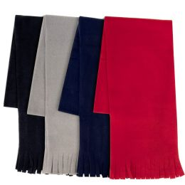 """100 Units of Adult Fleece Scarves 60"""" x 8"""" With Fringe - Assorted Colors - Womens Fashion Scarves"""
