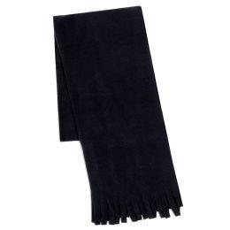 "100 Units of Adult Fleece Scarves 60"" x 8"" With Fringe - BLACK - Womens Fashion Scarves"