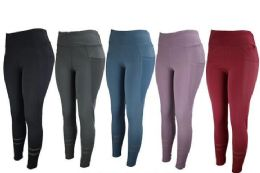 12 of Womens Stretch Long Leggings In Assorted Colors