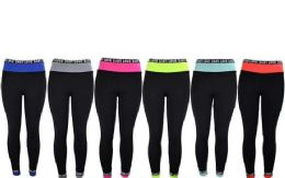 12 of Womens Love Stretch Long Leggings In Assorted Colors