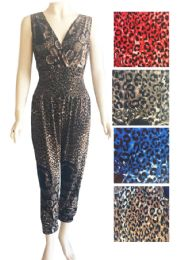 12 Units of Lady Leopard Print Romper Assorted Color And Size - Womens Rompers & Outfit Sets