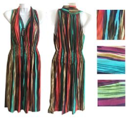 12 of Womens Printed Maxi Deep V Neck Dress In Assorted Color And Size