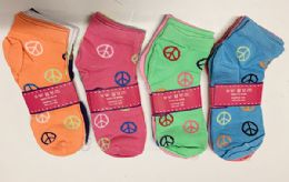 144 Bulk Women Short Socks Peace Print In Assorted Colors Size 9-11