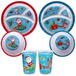 144 Units of Dinnerware Kids 144pc Floor Disp 2ast Space Theme Santa/reindeer - Plastic Dinnerware