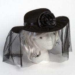 18 Wholesale Hat Mourners W/spider Veil & Rosette Hook/ht