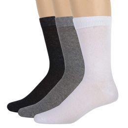 100 Bulk Men's Cotton Crew Socks- Assorted 3 Color