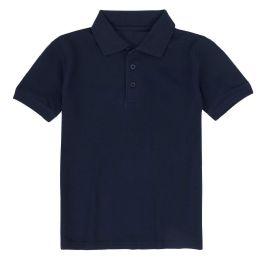 24 Bulk Kid's Short Sleeve Polo - Navy- Size 5-6