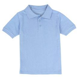 24 Bulk Kid's Short Sleeve Polo - Light Blue- Size 7-8