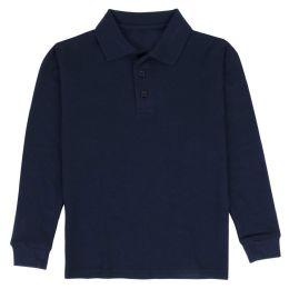 24 Bulk Kid's Long Sleeve Polo - Navy- Size 10-12