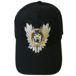 48 Wholesale Wolf Wings Snap Back Cap Assorted