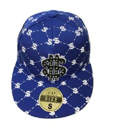 60 Wholesale Money Diamond Fitted Hat Flat Bill Cap Size Small In Blue Color