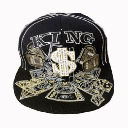 60 Wholesale King Money Embroidered Fitted Hat Flat Bill Cap Size Small In Black