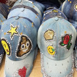 36 Wholesale Happy Face Bling Denim Ball Cap Assorted