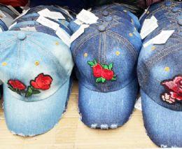 60 Wholesale Flower Denim Ball Cap Assorted