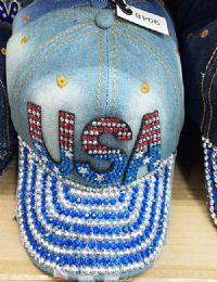 60 Wholesale USA Bling Bling Lady Denim Ball Cap