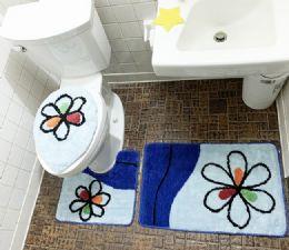 12 Units of 3 Pieces Bathroom Toilet Cover Mat Set - Bath Mat Sets
