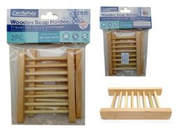 144 Units of 2pc Soap Holder Wooden - Soap Dishes & Soap Dispensers