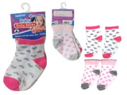 144 Units of Baby Socks W/ Rubber Dots - Baby Accessories