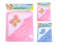 96 Wholesale Baby Hooded Towel 2Asst