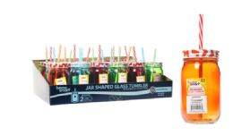 48 Units of Mason Jar With Straw Assorted Color - Food Storage Containers