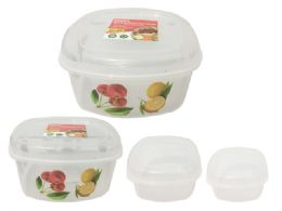 48 Units of Food Cont 3pc Square Printed - Food Storage Containers
