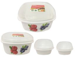 48 Units of 3pc Printed Square Food Containers - Food Storage Containers
