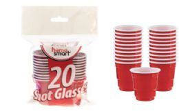 72 Units of Shot Glasses Red 2 Ounce 20 Count - Plastic Drinkware