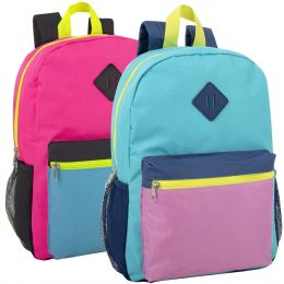"""24 Units of 16 Inch Multicolor Backpack With Side Pocket- Girls - Backpacks 17"""""""