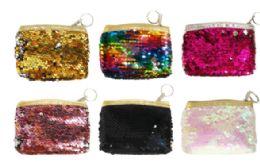 48 Wholesale Zipper Coin Purse Sequins
