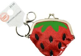 24 Wholesale Clasp Coin Purse Strawberry